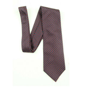 Ermenegildo Zegna Blue Red Polka Dot Silk Tie
